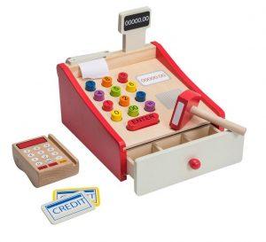 Joueco houten speelgoed kassa met scanner