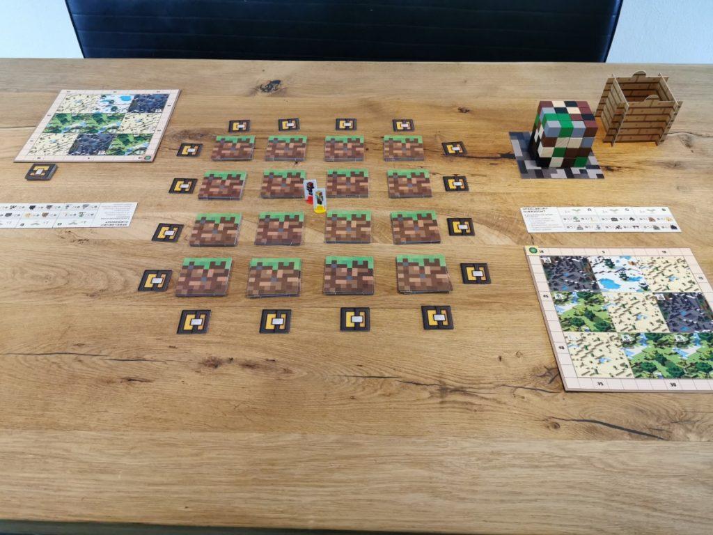 Het Minecraft bordspel startopstelling